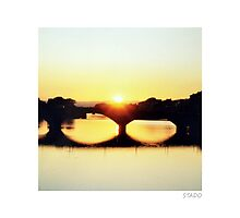 View from Ponte Vecchio over Arno River in Florence Photographic Print