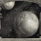 Earth, Moon, and the Milky Way Galaxy by Vintage Works