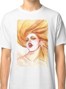 Hand drawn watercolor illustration of a  young girl in a summer color  Classic T-Shirt