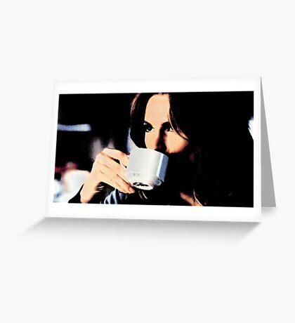Stana Katic Coffee Greeting Card