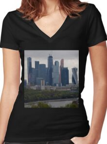 Moscow Skyline Women's Fitted V-Neck T-Shirt