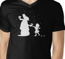 Snow Man And Girl With Heart Mens V-Neck T-Shirt