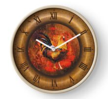 057 Wall Clock Rooster with bronze frame Clock
