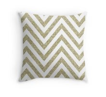 MODERN CHEVRON PATTERN bold gold glitter white Throw Pillow