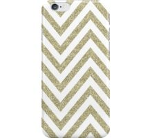 MODERN CHEVRON PATTERN bold gold glitter white iPhone Case/Skin