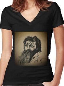 Charles Manson ink drawing Women's Fitted V-Neck T-Shirt
