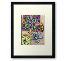Floral Burst in Purple & Green Framed Print