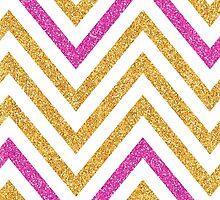 MODERN CHEVRON PATTERN bold bright pink + gold glitter white by Kat Massard