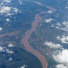 Mekong River forming the border between Thailand  by stuwdamdorp