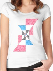 Abstract Angular Checkered Zen Doodle Women's Fitted Scoop T-Shirt