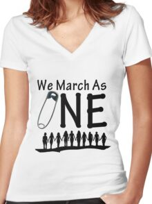 We March As One - #safetypin for #solidarity Women's Fitted V-Neck T-Shirt