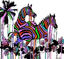 Rainbow Zebras At Play #2 by Saundra Myles