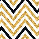 MODERN CHEVRON PATTERN bold black + gold glitter white by Kat Massard