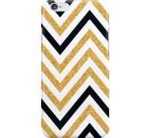 MODERN CHEVRON PATTERN bold black + gold glitter white iPhone Case/Skin