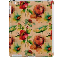 Red budding watercolor roses on wood texture iPad Case/Skin