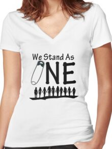 We Stand As One - #safetypin for #solidarity Women's Fitted V-Neck T-Shirt