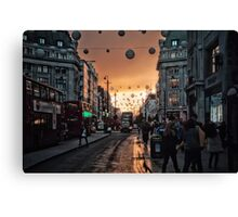 Oxford Street At Twilight With Christmas Lights Greeting Card Canvas Print