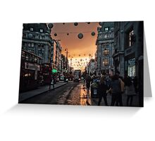 Oxford Street At Twilight With Christmas Lights Greeting Card Greeting Card
