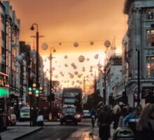 Oxford Street At Twilight With Christmas Lights Greeting Card Sticker