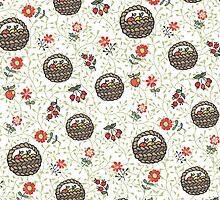 .Basket with apples,flowers,branches.Doodle  pattern by Tatiakost