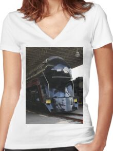 Norfolk and Western 611 Steam Train Women's Fitted V-Neck T-Shirt