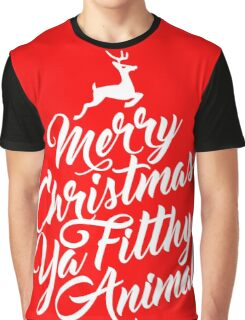 Merry Christmas Ya Filthy Animal Home Alone Movie Quote Design Graphic T-Shirt