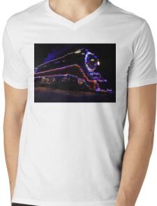 SP 4449 Steam Train With Christmas Lights Mens V-Neck T-Shirt