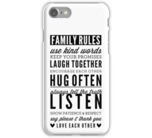FAMILY RULES modern typography positive art gray iPhone Case/Skin