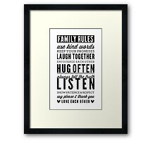 FAMILY RULES modern typography positive art gray Framed Print
