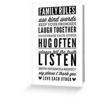 FAMILY RULES modern typography positive art gray Greeting Card
