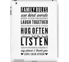 FAMILY RULES modern typography positive art gray iPad Case/Skin