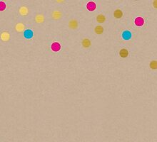 CONFETTI SPOT pattern modern gold aqua pink kraft by Kat Massard