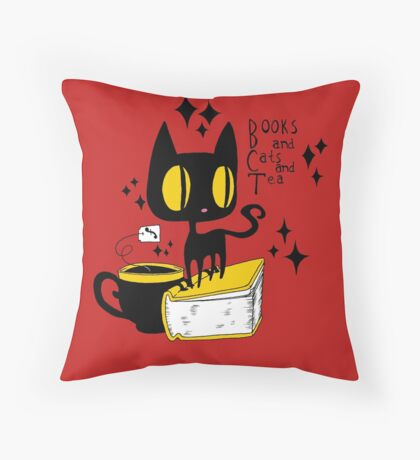 Books and Cats and Tea Throw Pillow