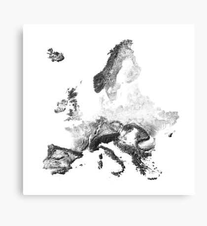 Europe mapped by sunset shadows Canvas Print