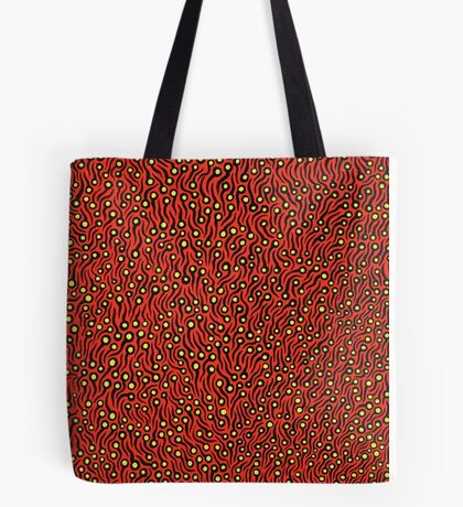 Untitled by Yayoi Kusama.  Acrylic on canvas, 45.5 x 38.0 cm. Signed and dated 1993 Tote Bag