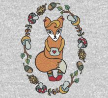 Lovely funny fox in woodland wreath Kids Clothes