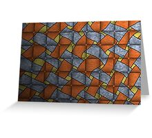 Weave Orange Blue Yellow White Greeting Card