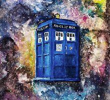 TARDIS in space watercolour art  by vincentnoir