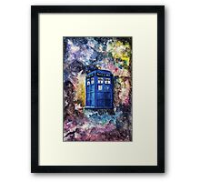 TARDIS in space watercolour art  Framed Print
