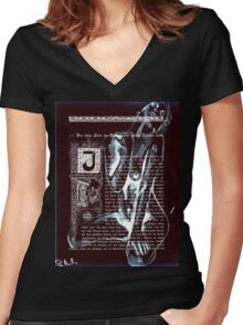 ink on very old paper negativ scan Women's Fitted V-Neck T-Shirt