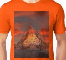 Beautiful Red Sky Matterhorn in Switzerland Unisex T-Shirt