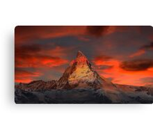 Beautiful Red Sky Matterhorn in Switzerland Canvas Print