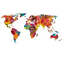 Map of The World 2 -Colorful Abstract Art Photographic Print
