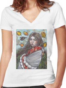 Persephone's Descent Women's Fitted V-Neck T-Shirt