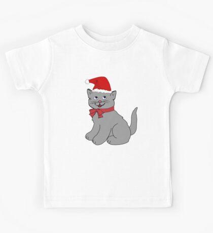 Cartoon Christmas Cat Kids Tee