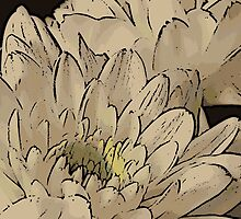 White Flowers Woodcut by Colin Bentham
