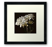 White Flower Woodcut Framed Print