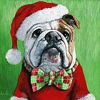 Billy Bulldog - The Holiday Season painting by LindaAppleArt