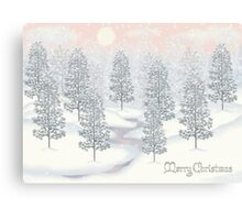 Snowy Day Winter Scene Merry Christmas Canvas Print
