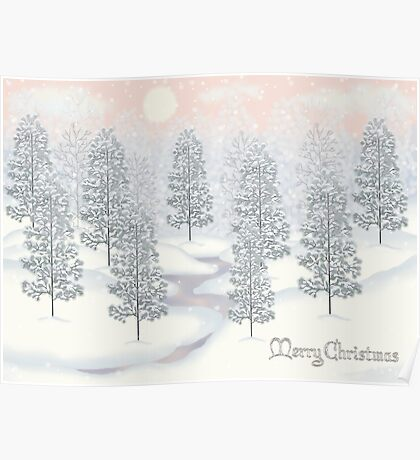 Snowy Day Winter Scene Merry Christmas Poster